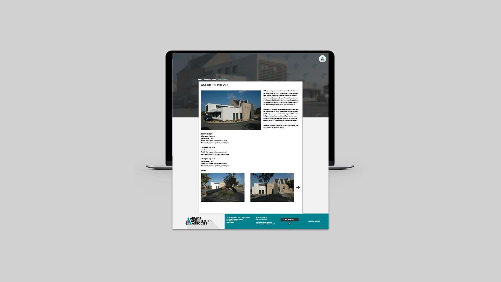 Refonte du site internet de l'atelier d'architecture Armor Architectes Associés.